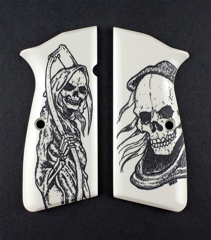 Browning Hi-Power Scrimshaw Ivory Polymer - Grim Reaper Bust and Body
