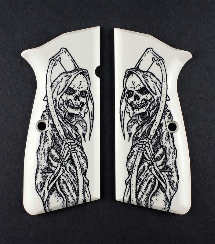 Browning Hi-Power Scrimshaw Ivory Polymer - Grim Reaper Full-Body X2