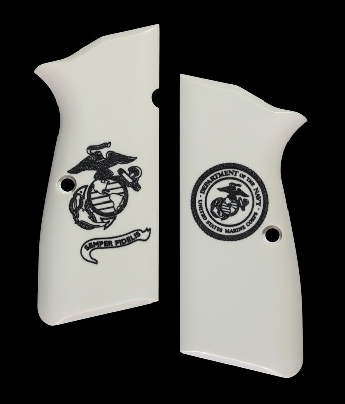 Browning Hi-Power Scrimshaw Ivory Polymer - Marines Eagle Globe and Anchor