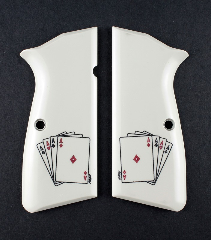 Browning Hi-Power Scrimshaw Ivory Polymer - Double Aces