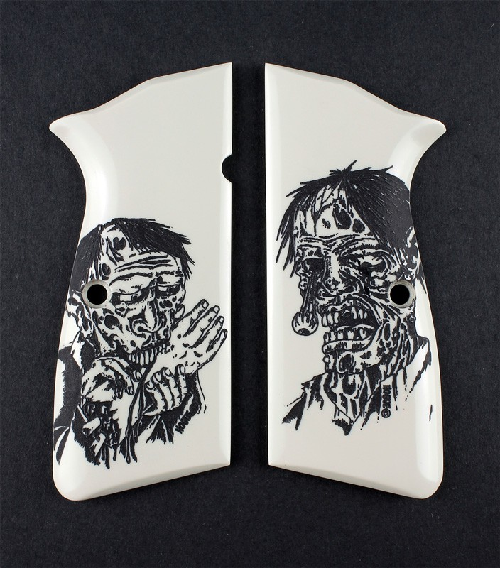 Browning Hi-Power Scrimshaw Ivory Polymer - Zombie