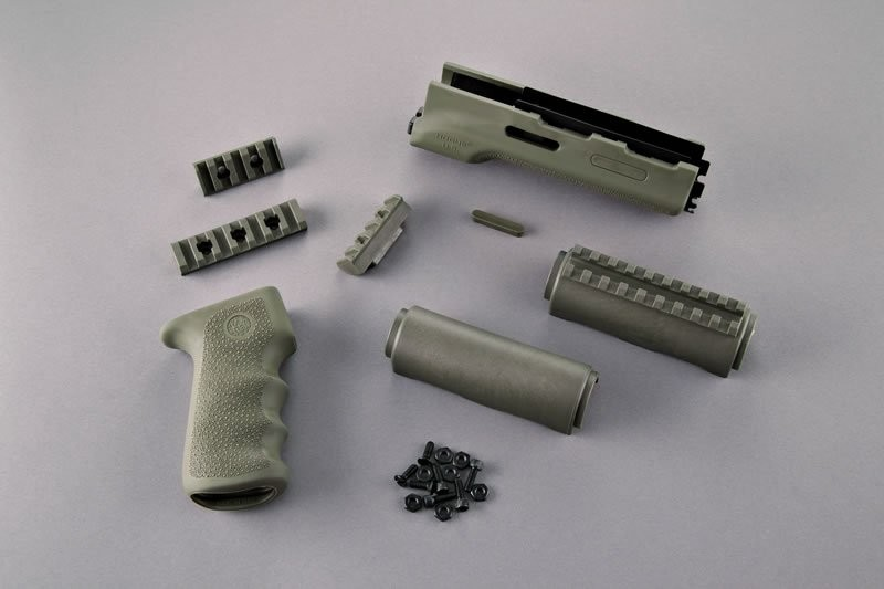AK-47/AK-74 Standard Chinese and Russian - Kit - OverMolded Grip and Forend OD Green