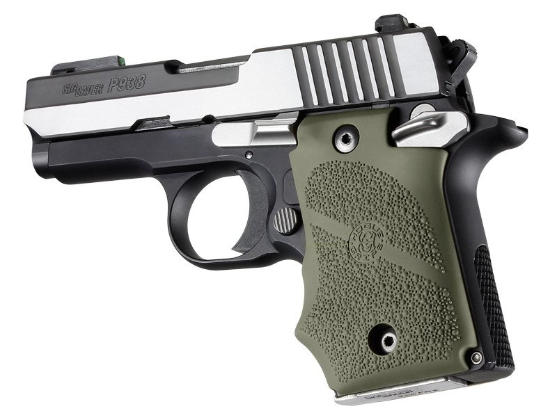 SIG Sauer P938 Ambi Safety Rubber Grip with Finger Grooves OD Green