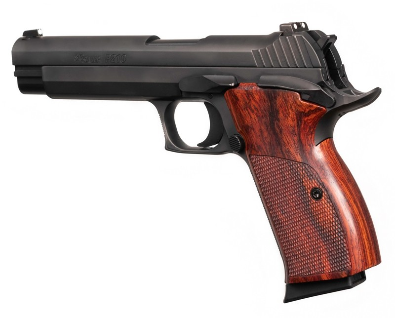 SIG P210 American: Checkered Hardwood Grip - Coco Bolo