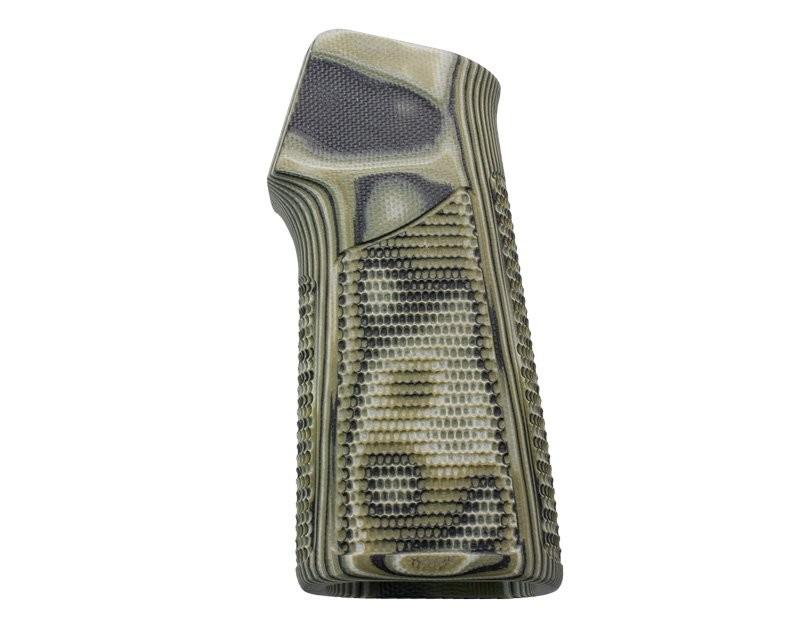 AR15 / M16 15 Degree Vertical No Finger Groove Piranha Grip G10 - G-Mascus Green
