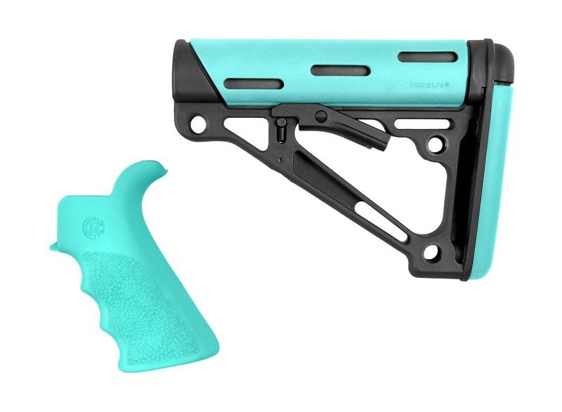 AR-15 / M16 Kit: OverMolded Beavertail Grip & Collapsible Buttstock (Fits Commercial Buffer Tube) - Aqua