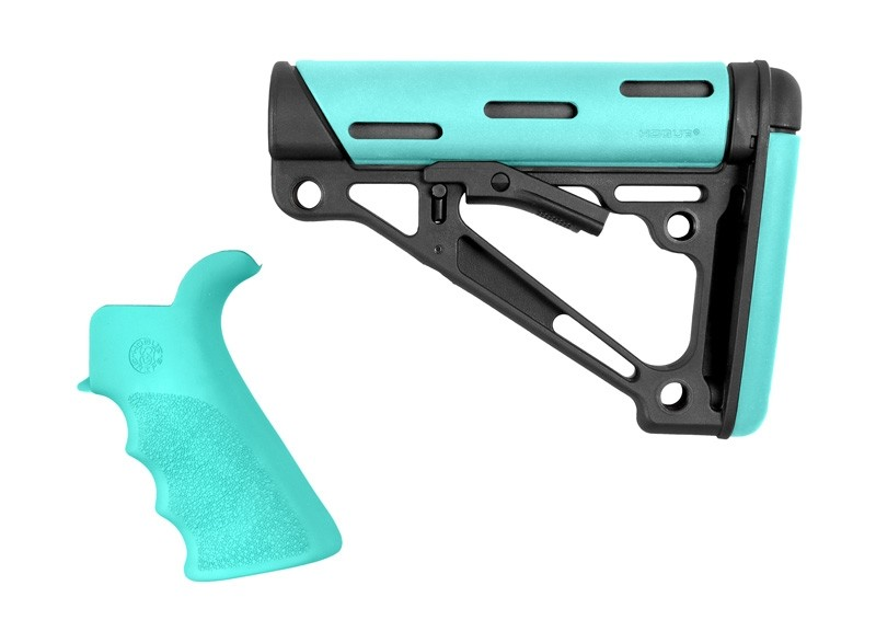 AR-15 / M16 Kit: OverMolded Beavertail Grip & Collapsible Buttstock (Fits Mil-Spec Buffer Tube) - Aqua