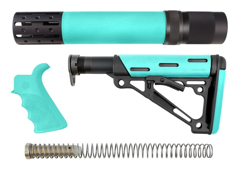 AR-15 / M16 Kit: OverMolded Beavertail Grip, Rifle Length Forend with Accessories, Collapsible Buttstock (Includes Mil-Spec Buffer Tube & Hardware) - Aqua