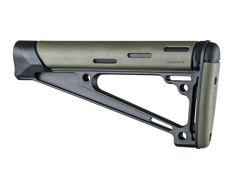 AR-15 / M16: OverMolded Fixed Buttstock (Fits A2 Buffer Tube) - OD Green
