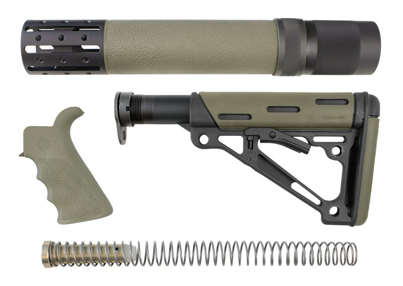 AR-15/M-16 3-Piece Kit OD Green - Grip, Collapsible Buttstock, and Forend with Accessories