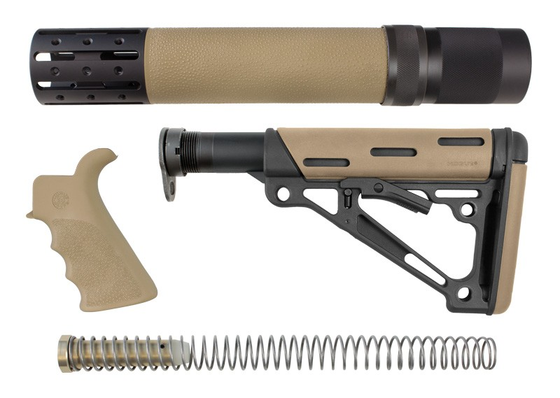 AR-15 / M16 Kit: OverMolded Beavertail Grip, Rifle Length Forend with Accessories, Collapsible Buttstock (Includes Mil-Spec Buffer Tube & Hardware) - FDE