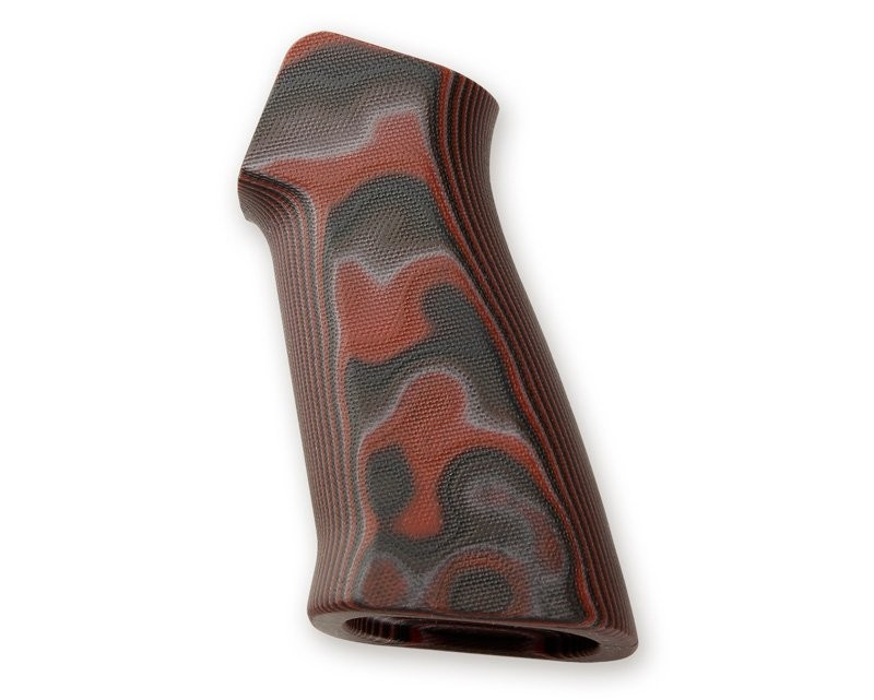 AR15 / M16 No Finger Groove Smooth G10 - G-Mascus Red Lava