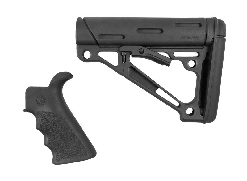 AR-15/M-16 2-Piece Kit Black- Grip and Collapsible Buttstock - Fits Mil-Spec Buffer Tube