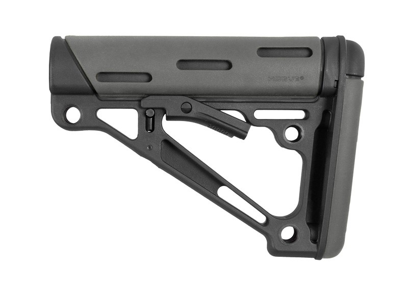 AR-15 / M16: OverMolded Collapsible Buttstock (Fits Mil-Spec Buffer Tube) - Slate Grey