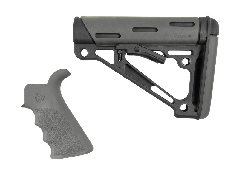 AR-15 / M16 Kit: OverMolded Beavertail Grip & Collapsible Buttstock (Fits Commercial Buffer Tube) - Slate Grey