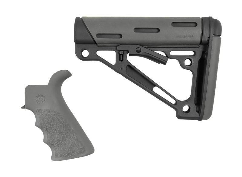 AR-15 / M16 Kit: OverMolded Beavertail Grip & Collapsible Buttstock (Fits Mil-Spec Buffer Tube) - Slate Grey