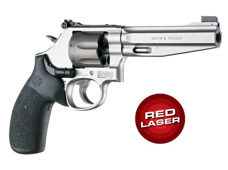 Red Laser Enhanced Grip for S&W K/L-Frame Round Butt: Cobblestone Rubber Monogrip - Black