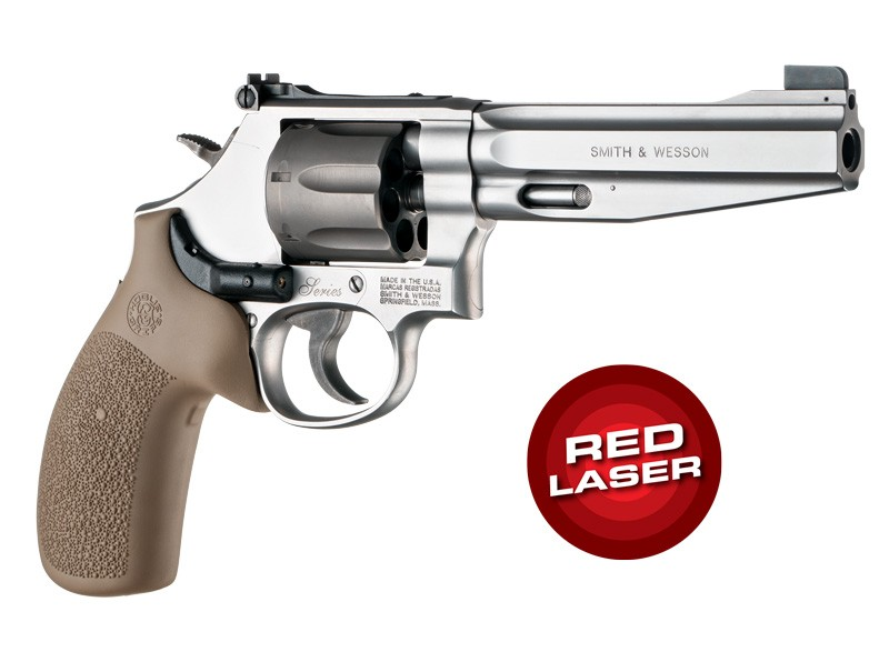 Red Laser Enhanced Grip for S&W K/L-Frame Round Butt: Cobblestone Rubber Monogrip - FDE