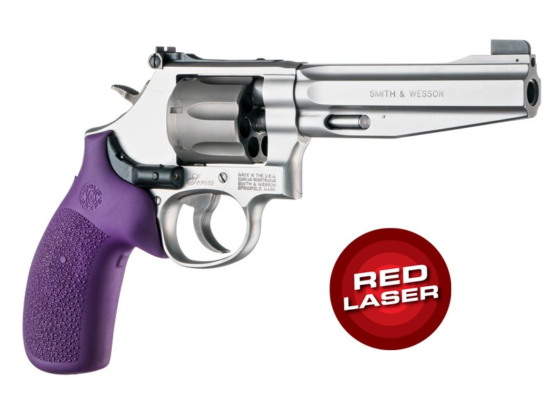 Red Laser Enhanced Grip for S&W K/L-Frame Round Butt: Cobblestone Rubber Monogrip - Purple