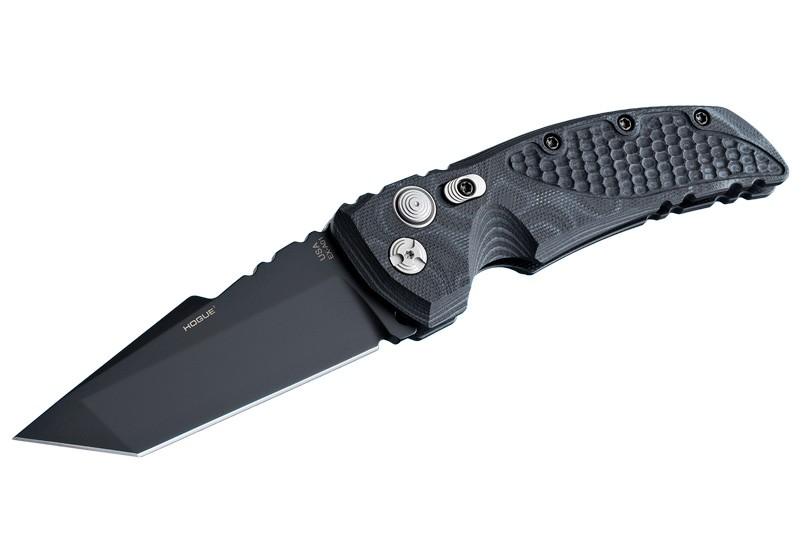 "EX-A01 3.5"" Automatic Folder Tanto Blade Black Finish G-10 Frame - G-Mascus Black"