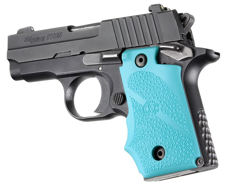 SIG Sauer P238 Rubber Grip with Finger Grooves Aqua