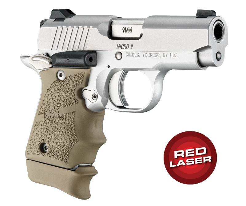 Red Laser Enhanced Grip for Kimber Micro 9: OverMolded Rubber - FDE