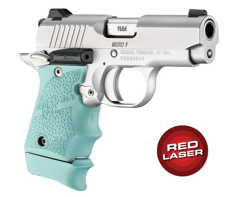 Red Laser Enhanced Grip for Kimber Micro 9: OverMolded Rubber - Aqua