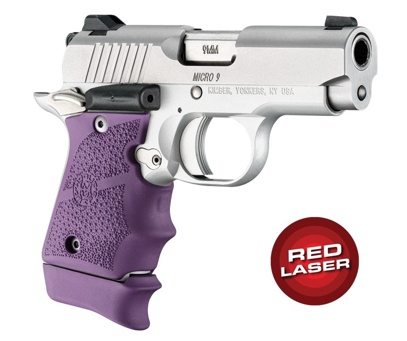 Red Laser Enhanced Grip for Kimber Micro 9: OverMolded Rubber - Purple