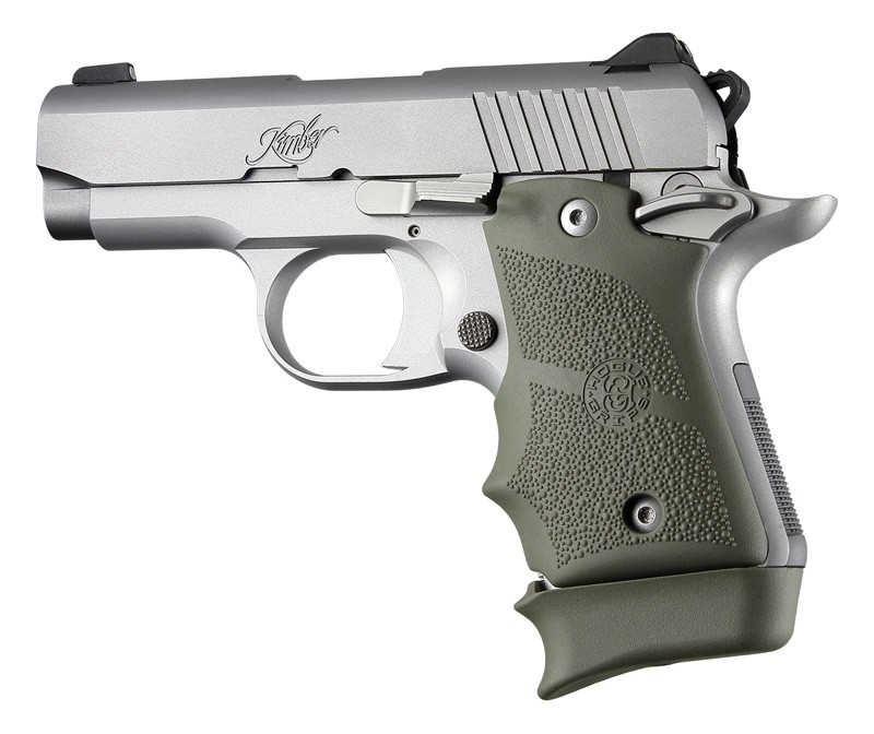 Kimber Micro 9 (Ambi Safety): OD Green Rubber Grip with Finger Grooves