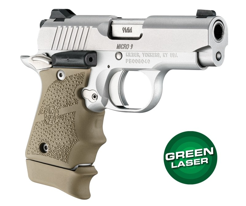 Green Laser Enhanced Grip for Kimber Micro 9: OverMolded Rubber - FDE