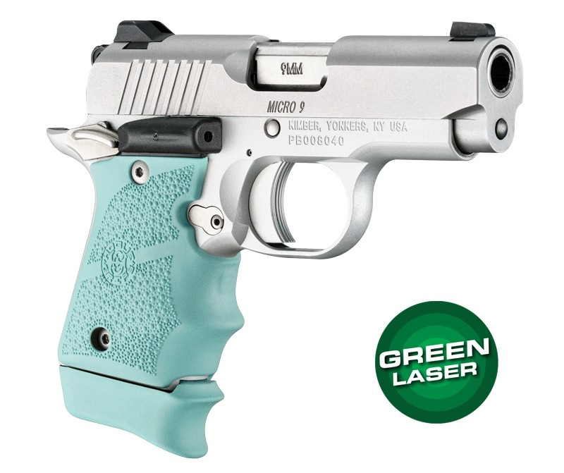 Green Laser Enhanced Grip for Kimber Micro 9: OverMolded Rubber - Aqua