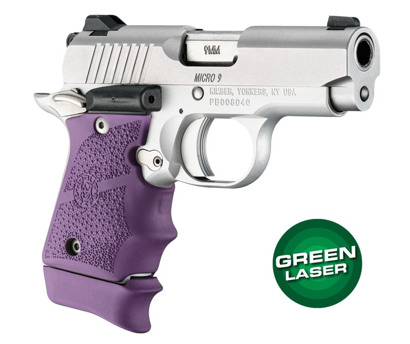 Green Laser Enhanced Grip for Kimber Micro 9: OverMolded Rubber - Purple