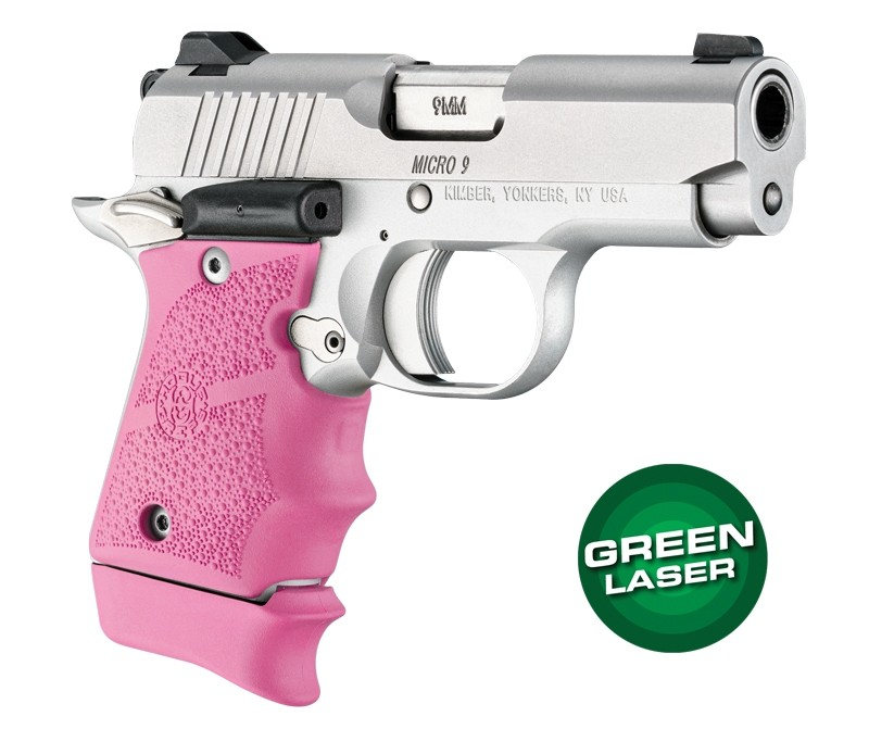 Green Laser Enhanced Grip for Kimber Micro 9: OverMolded Rubber - Pink