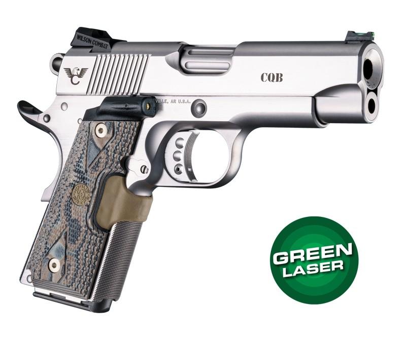 Green Laser Enhanced Grip for 1911 Officers Model: Piranha G10 - G-Mascus Dark Earth