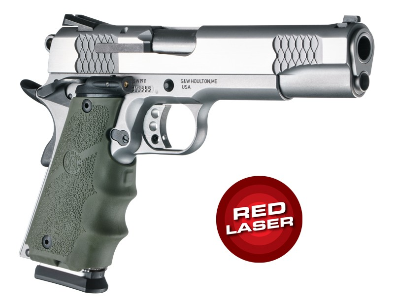 Laser Enhanced Grip Red Laser - Govt. Model Rubber Grip with Finger Grooves OD Green