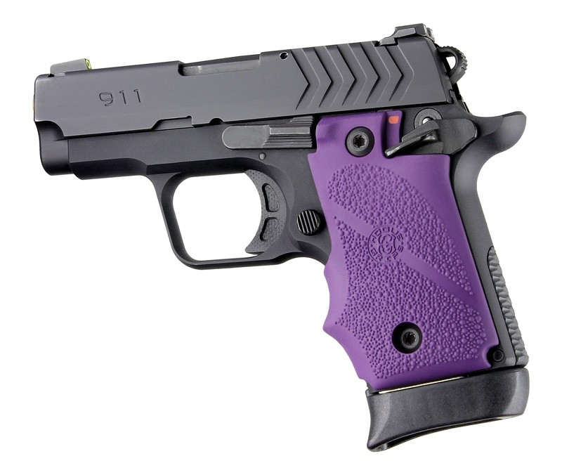 Springfield Armory 911 .380: Cobblestone Rubber Grip with Finger Grooves (Ambi Safety) - Purple