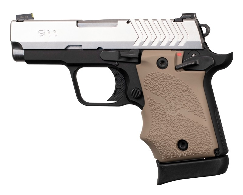 Springfield Armory 911 9mm: Cobblestone Rubber Grip with Finger Grooves (Ambi Safety) - FDE