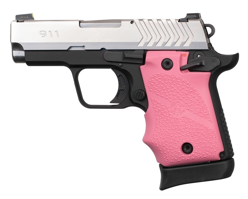 Springfield Armory 911 9mm: Cobblestone Rubber Grip with Finger Grooves (Ambi Safety) - Pink