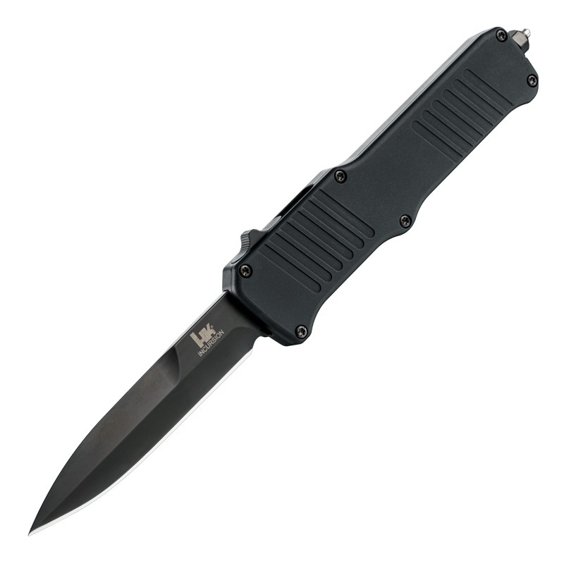 "HK Incursion OTF Automatic: 3.9"" Bayonet Blade - Black PVD Finish, Matte Black Aluminum Frame"