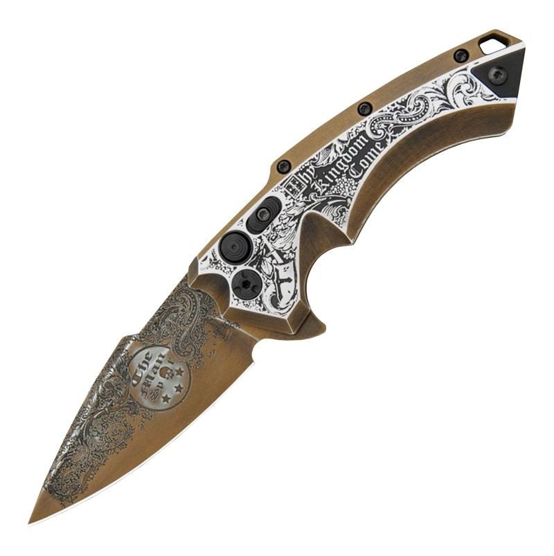 "X5 Manual Flipper (Blade HQ Exclusive): 3.5"" Spear Point Blade, Custom Outlaw Ordnance Engraving - Manspot Thy Kindgom Come"