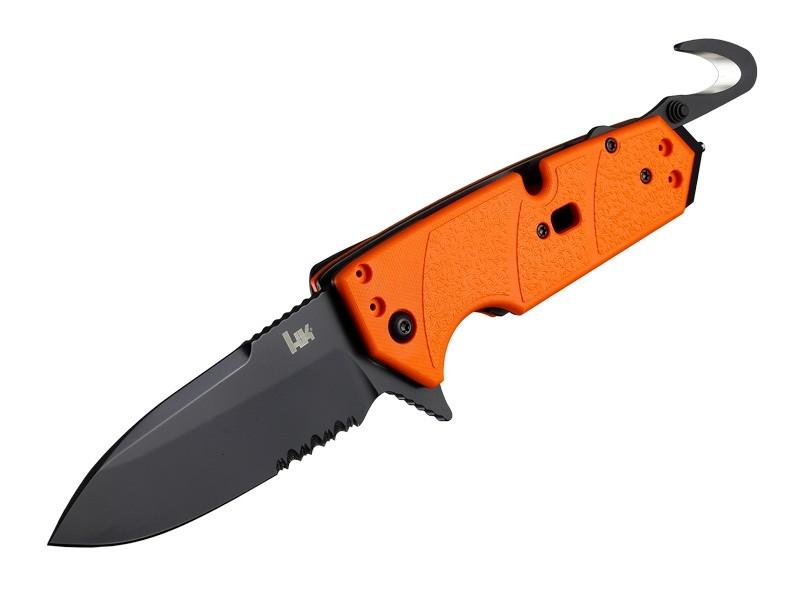 "HK Karma 3.75"" First Response Tool Folder: Black Cerakote Spear Point Blade Flipper (Partially Serrated), Orange G10 Frame"