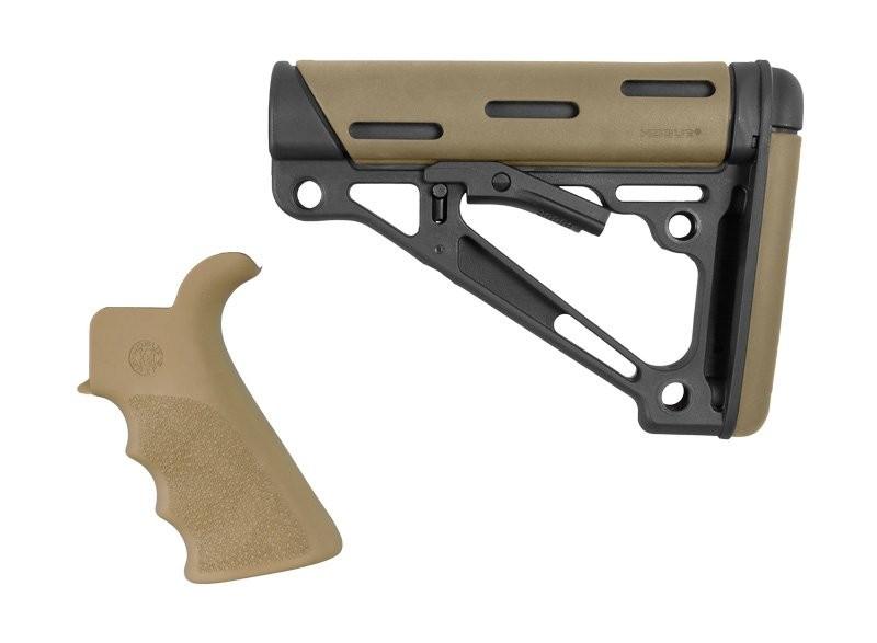 AR-15 / M16 Kit: OverMolded Beavertail Grip & Collapsible Buttstock (Fits Mil-Spec Buffer Tube) - FDE