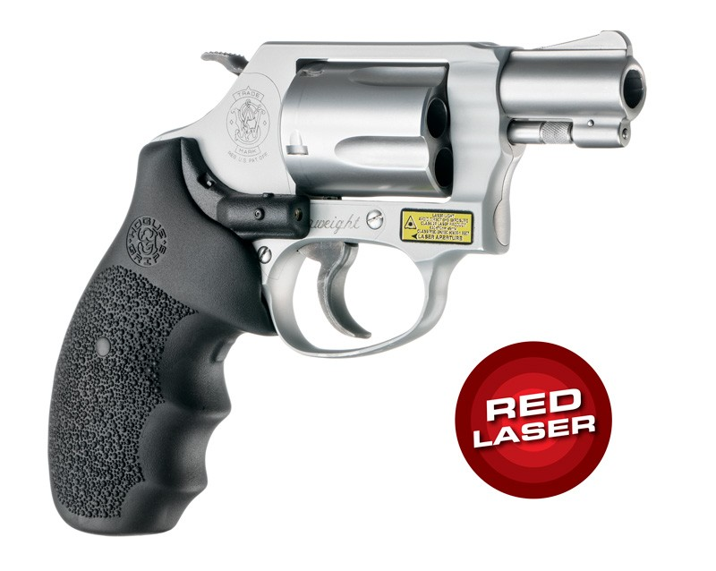 Laser Enhanced Grip Red Laser - S&W J Frame Round Butt Rubber Monogrip Black