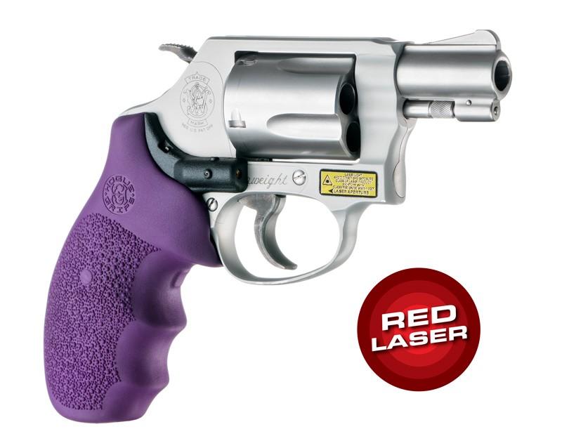 Red Laser Enhanced Grip for S&W J-Frame Round Butt: Cobblestone Rubber Monogrip - Purple