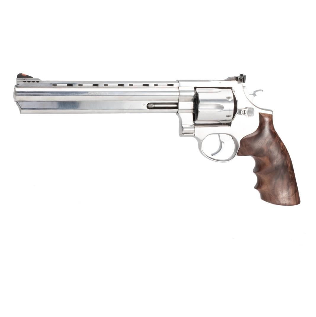 Taurus Medium & Large Frame (Square Butt): Smooth Hardwood Grip with Finger Grooves - Walnut Burl