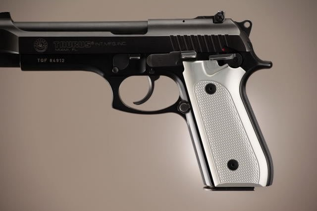 Taurus PT-99 PT-92 PT-100 PT-101 With Decocker Checkered Aluminum - Brushed Gloss Clear Anodize