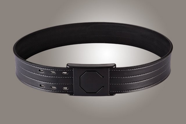 "2-1/4"" Black 48"" Waist Duty Belt Nytek Lining 4 Row Stitching with 1 Piece Safety Buckle Polymer"