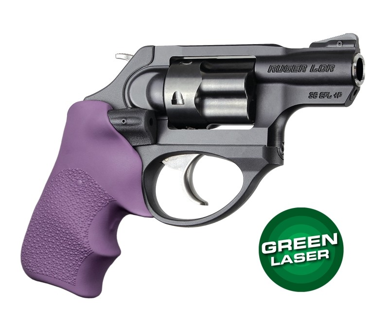 Green Laser Enhanced Grip for Ruger LCR: OverMolded Rubber Tamer Cushion - Purple