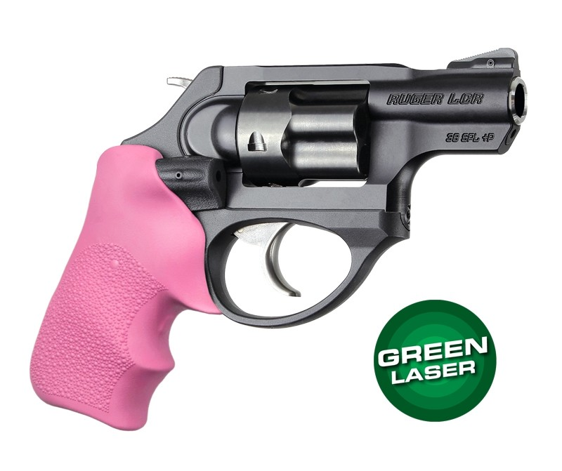 Green Laser Enhanced Grip for Ruger LCR: OverMolded Rubber Tamer Cushion - Pink