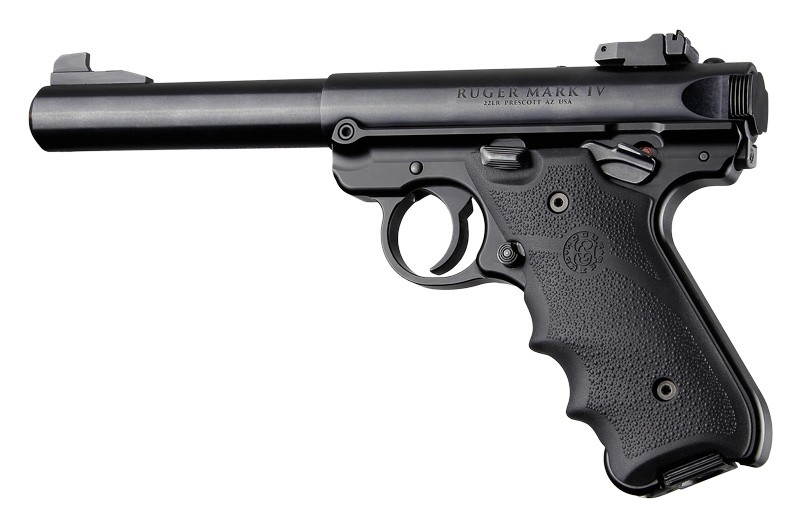 Ruger MK IV: Black Rubber Grip with Finger Grooves